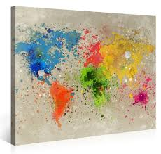 World Map Canvas by Large Canvas Print Wall Art World Map Watercolour Explosion