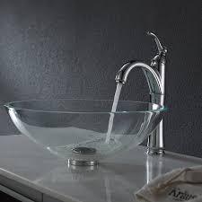 kraus gv 100 crystal clear glass vessel bathroom sink amazon com