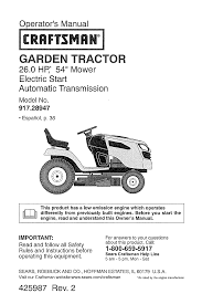 craftsman lawn mower 917 289470 user guide manualsonline com