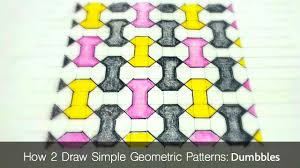 how to draw simple geometric patterns dumbbell tiling youtube