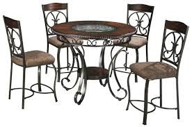 glambrey round counter table and 4 barstool set with metal accents
