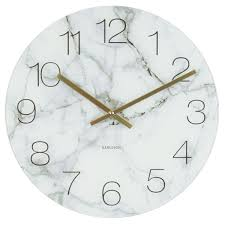 karlsson glass marble clock white marble finish wall clock