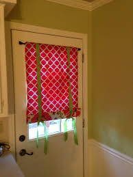 splendid small door window curtains with red skylight blinds