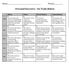 six traits writing personal narrative rubric  th grade   Google Search Pinterest