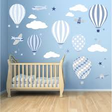 nursery wall art enchanted interiors hot air balloon jets wall stickers blue and grey