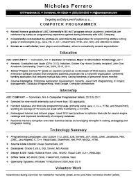 Entry Level Resume Examples by Free Entry Level Computer Programming Resume Template Sample