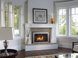 pretty fireplace design for corner living room with white painted