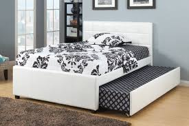 Full Size Trundle Bed Frame White Faux Leather Full
