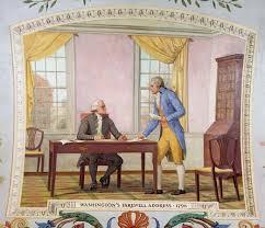 Alexander Hamilton  right  helping Pres  George Washington write his farewell address  Painting Encyclopedia Britannica