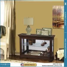 espresso finish curio console display cabinet sliding door 680563