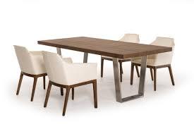 Mid Century Modern Dining Room Tables Byron Mid Century Walnut U0026 Stainless Steel Dining Table