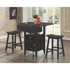 coaster 3 piece bar table set with wine rack storage espresso