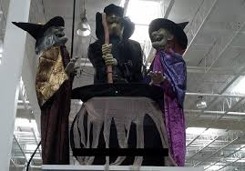 animatronic halloween props amazon com animated halloween decor 3 witches with light and