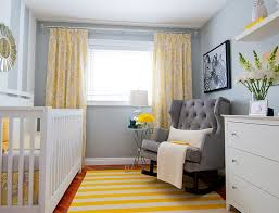 Rug For Baby Room Contemporary Yellow Furry Rug And Grey Velvet Tufted Rocking Chair