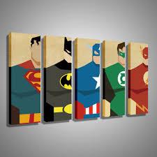 Super Mario Home Decor by Oil Painting Canvas Super Hero Superman Batman Cartoon Modular