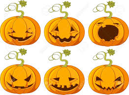 set of different faces halloween pumpkins royalty free cliparts