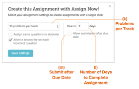 Create a Class Assignment     TenMarks Help Desk TenMarks Help Desk Once you have saved your default settings  you will be able to create assignments with one click