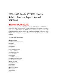 2001 2003 honda vt750 dc shadow spirit service repair manual download