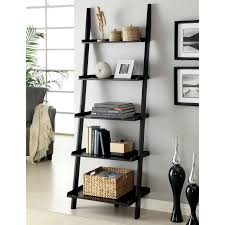 lovely black wooden ladder shelf as storage as well as artwork