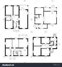 set ground floor blueprints vector unfurnished stock vector