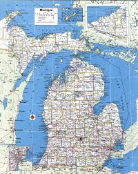 Large Map Of Usa by Large Detailed Administrative Map Of Michigan State With Roads And