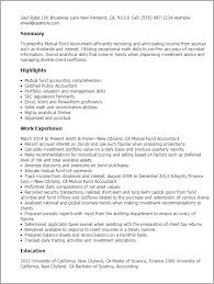 Accounting Resume Examples by Professional Mutual Fund Accountant Templates To Showcase Your