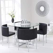 Abingdon Stowaway Glass Dining Table  Chairs Dining Set Multi - Black dining table for 4