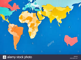 Colored World Map by World Map Cut Out Of Colored Paper Based On Blue Applique And