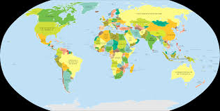Peters Projection World Map by World Map Showing Countries As Named In Their Own Languages