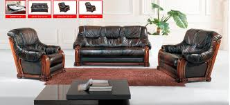 Sofa With Wood Trim by Classic Italian Leather Sofa Set Three Piece Dark Sofa Group For