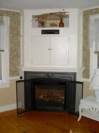 decor corner gas fireplace with baby swing and cream wall for