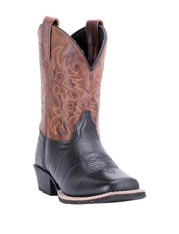 Dan Post Little River Youth 9 Black/Rust Western Cowboy Boot 6 D Black Brown