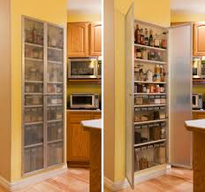 blurred glass door on white pantry cabinst for l shaped yellow