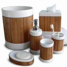 White Bathroom Accessories Set by Bath Accessories Set Made Of White Ceramic Body With Bamboo Panel