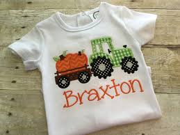 Toddler Boy Halloween Shirt by Pumpkin Tractor Shirt Boys Fall Shirt Tractor Pumpkin