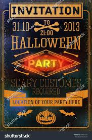 invitation halloween party bats bones pumpkins stock vector