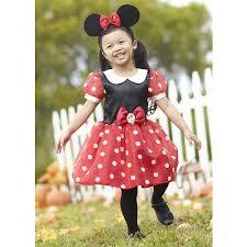 Halloween Costume Ears Disney Girls 2 Piece Red Black Minnie Mouse Halloween Costume