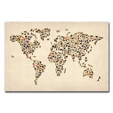 World Map Canvas by Amazon Com Trademark Fine Art World Map Of Cats By Michael