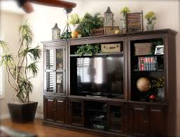 top of large entertainment center studious look old books garden