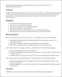 Professional Telecom Sales Manager Templates to Showcase Your     My Perfect Resume