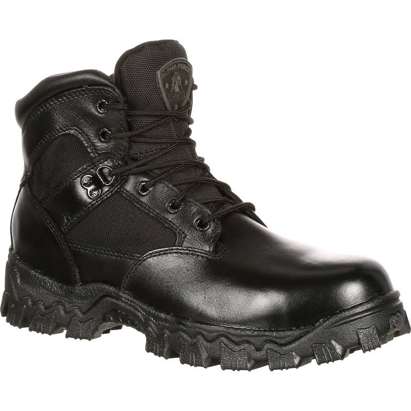Rocky 6in Alpha Force Work Shoes Black- Mens