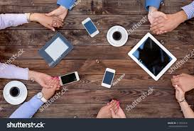 Round Wooden Table Top View Business Team Unity Group People Vintage Stock Photo 314792615