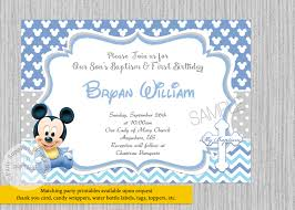 Invitation Cards Baptism Baby Mickey Mouse Christening Invitations Baby Mickey Baptism