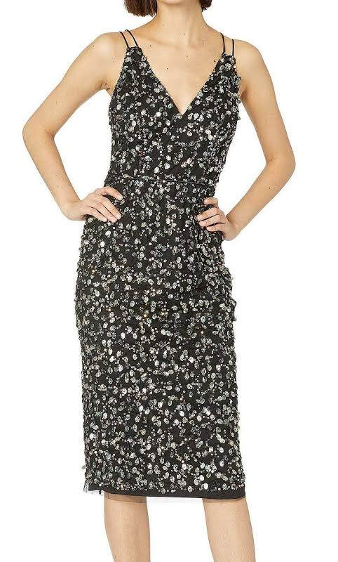 Adrianna Papell Sequined Mesh Cocktail Dress Black 6