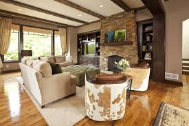 Rustic Contemporary Living Room Home Design Ideas - Modern rustic home design