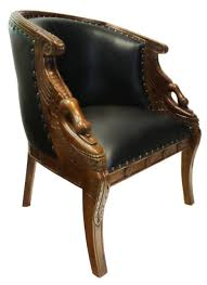 Beautiful Chairs by Hand Carved Mahogany Swan Tub Chair With Black Faux Leather Seat
