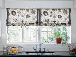 attractive ideas for kitchen window treatments with cool brown
