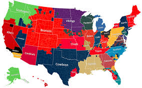 Color Coded Map Of Usa by The Geography Of Nfl Fandom The Atlantic