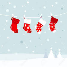 cute christmas stockings winter snow in background vector
