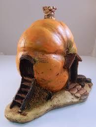 fairy garden orange pumpkin statue miniature faery house for